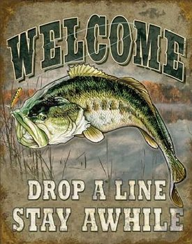 WELCOME BASS FISHING Carteles de chapa