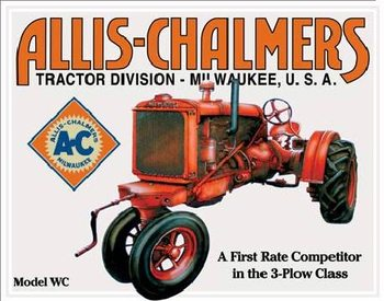 Cartello in metallo ALLIS CHALMERS - MODEL WC tractor
