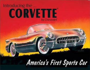 Cartelli Pubblicitari in Metallo CHEVY 1953 CORVETTE - Chevrolet