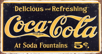 Cartelli Pubblicitari in Metallo COKE VINTAGE LOGO
