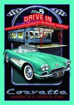 Cartelli Pubblicitari in Metallo CORVETTE DRIVE