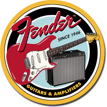 Cartelli Pubblicitari in Metallo FENDER - Round G&A