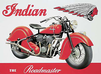 Cartelli Pubblicitari in Metallo INDIAN ROADMASTER