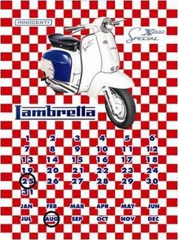 Cartelli Pubblicitari in Metallo LAMBRETTA SX200 CALENDAR