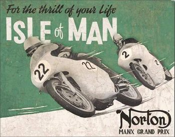 Cartelli Pubblicitari in Metallo NORTON - Isle of Man