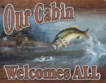Cartelli Pubblicitari in Metallo Our Cabin Welcomes All