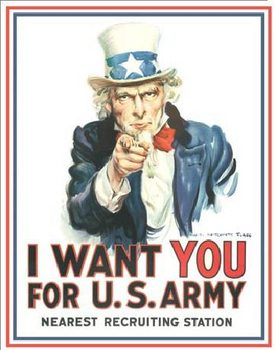 Cartelli Pubblicitari in Metallo UNCLE SAM - i want you