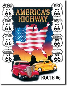 Cartello in metallo AMERICAS HIGHWAY