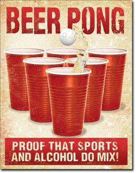 Cartello in metallo Beer Pong
