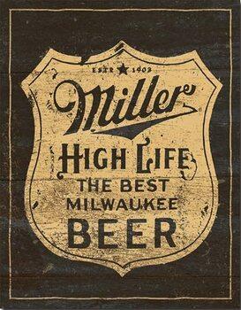 Cartello in metallo Miller - Vintage Shield