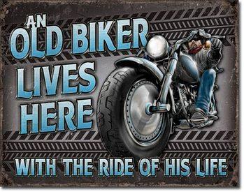 Cartello in metallo Old Biker - Ride