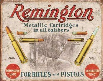 Cartello in metallo REM - REMINGTON - For Rifles & Pistols