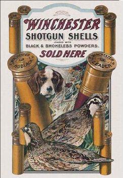 Cartello in metallo WIN - dog & quail
