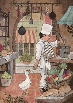 Chef With Goose Festmény reprodukció
