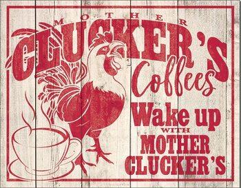Clucker's Coffees Metalen Wandplaat