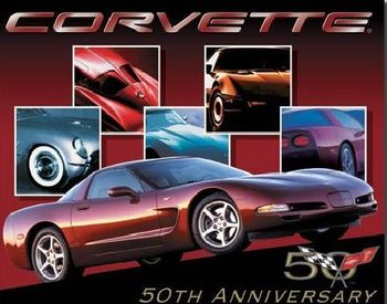 CORVETTE - 50th car Plaque métal décorée