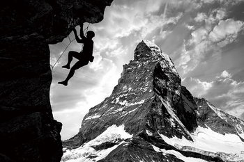 Cuadro en vidrio Be Brave - Climb the Mountain
