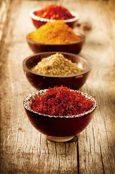 Cuadro en vidrio Zen - Bowls with Spices
