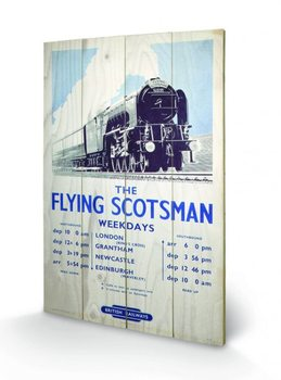 Bild auf Holz Dampflokomotive - The Flying Scotsman 2