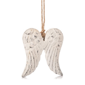 Angel Wings Wooden Hanging Decoration White, 9 cm Decoración de casa