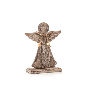 Angel Wooden with Bow Faded Paint, 26 cm Decoración de casa