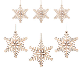 Hanging Wooden Snowflake, 12 cm, set of 6 pcs Decoración de casa