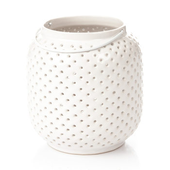 Lantern Holey, 14 cm White Decoración de casa