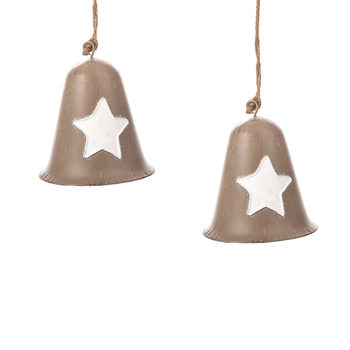 Metal Bell White Star, 10 cm, set of 2 pcs Decoración de casa
