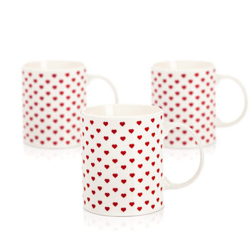 Mug Retro Heart 350 ml, set of 3 pcs Decoración de casa