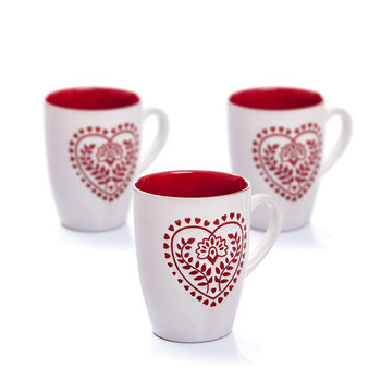 Mug White-Red Heart 300 ml, set of 3 pcs Decoración de casa