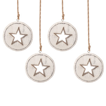Wooden Christmas Decoration Star White, 8 cm, set of 4 pcs Decoración de casa