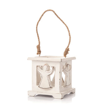 Wooden Lantern with Angel White, 9 cm Decoración de casa