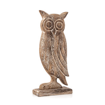 Wooden Owl Faded Paint, 24 cm Decoración de casa