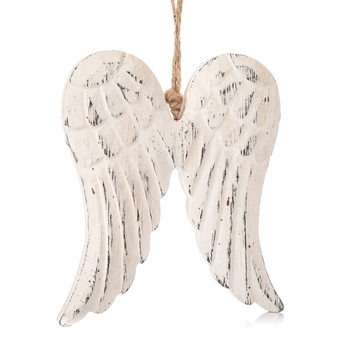 Angel Wings Wooden Hanging Decoration White, 13 cm Decorațiuni pentru locuință