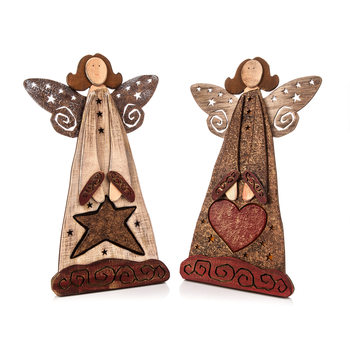 Angel Wooden Standing with Heart and Star, 36 cm Decorațiuni pentru locuință