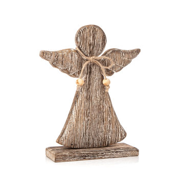 Angel Wooden with Bow Faded Paint, 21 cm Decorațiuni pentru locuință