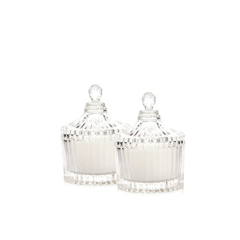 Candle with Lid - Vanilla, White 9 cm, set of 2 pcs Decorațiuni pentru locuință