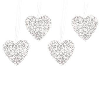 Christmas Heart Decoration, 12 cm, set of 4 pcs Decorațiuni pentru locuință