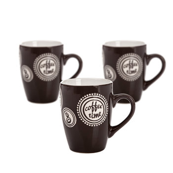 Mug Coffee Time - Dark Brown 300 ml, set of 3 pcs Decorațiuni pentru locuință