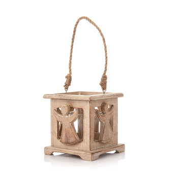 Wooden Lantern with Angel Faded Paint, 9 cm Decorațiuni pentru locuință