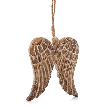 Angel Wings Wooden Hanging Decoration, 9 cm Decorazione per la casa