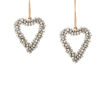 Belled Heart, 8 cm, set of 2 pcs Decorazione per la casa