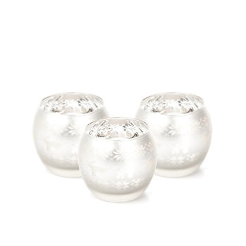 Candle Holder Dish Sob Silver 8 cm, set of 3 pcs Decorazione per la casa