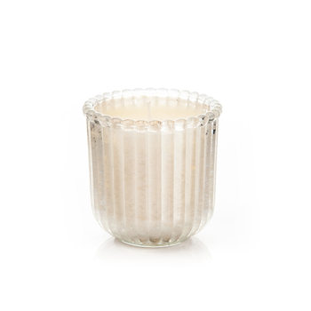 Candle in Glass Metal - Vanilla, White Wide 7,5x7,5 Decorazione per la casa