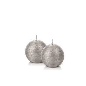 Candle Sphere 6 cm, Silver, set of 2 pcs Decorazione per la casa