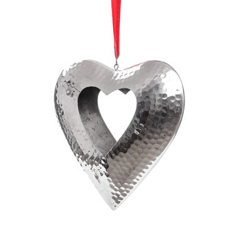 Hanging Candle Holder Heart Silver 23 cm Decorazione per la casa