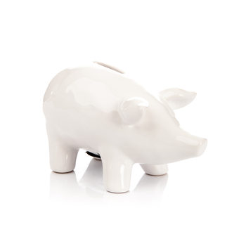Piggybank Pig – Medium, White Decorazione per la casa