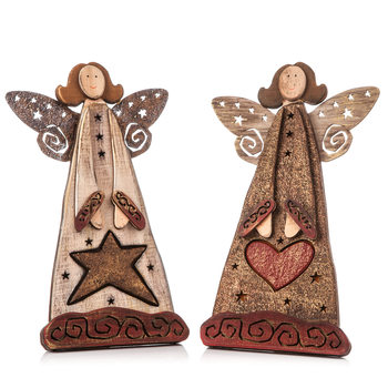 Angel Wooden Standing with Heart and Star, 25 cm Dekoracje wnętrz