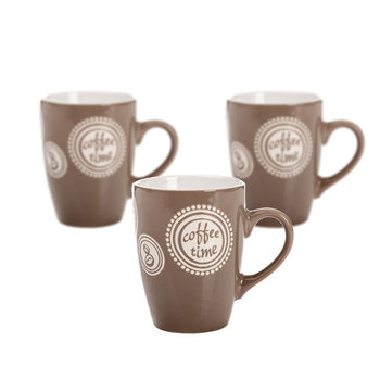 Mug Coffee Time - Light Brown 300 ml, set of 3 pcs Dekoracje wnętrz