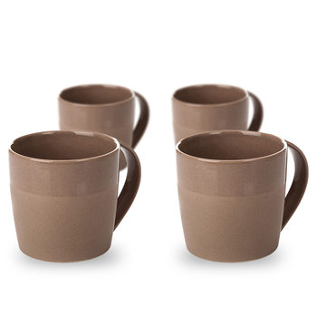 Mug Everyday, Dark Brown Glazed/Matte 300 ml, set of 4 pcs Dekoracje wnętrz